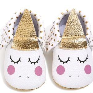 Other - Sleeping Unicorn Polka Dot Fringe Baby Moccasins